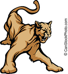 Cougar Mascot Body - Graphic Mascot Vector Image of a Cougar...