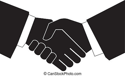 Handshaking with each other on white background