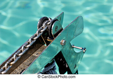 Anchor on a boat