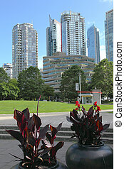 Vancouver BC architecture, Canada. - Closer view of Galss...