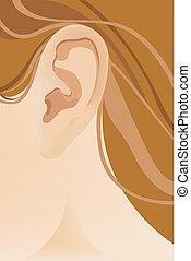 a, human, orelha