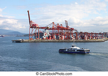 Industrial port of Vancouver BC Canada & seabus transport. -...