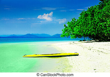 Kayak in paradise - Kayak on white sandy beach in tropical...