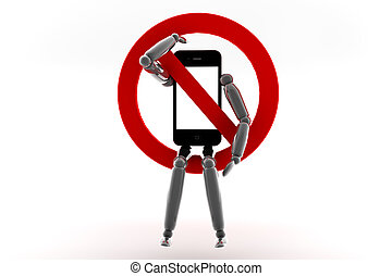 Phone prohibition - Mobile phone with blank screen for copy...