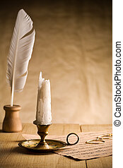 Not burning candle on vintage table