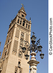La Giralda Tower in Seville, Spain - Detail of La Giralda...