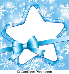 snow frame - xmas blue frame with star and bow