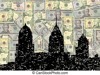 Grunge Philadelphia skyline with dollars