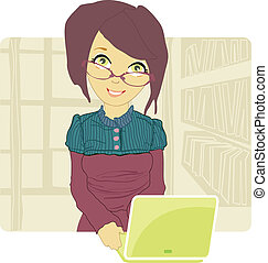 business woman using her laptop