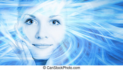 Beautiful cyber girls face on abstract background