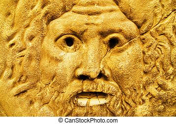 dourado, escultura, zeus
