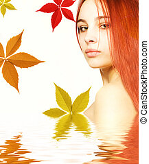 Beautiful redhead girl in rendered water