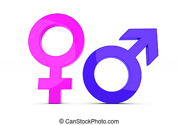 Femal and male sign - 3d render of a femal and male sign
