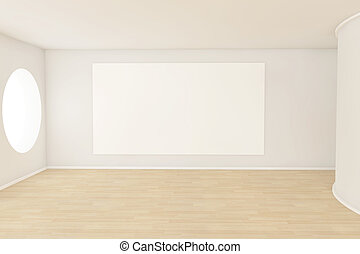 Empty room with a blank canvas