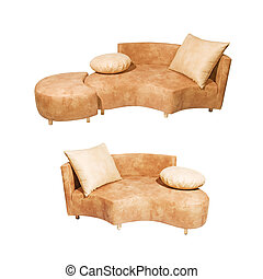 Sofa set isolated on white background