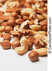 Nuts over white background - Mix of various nuts over white...