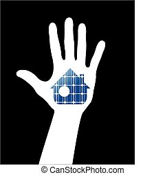 Hand with solar house. Save energy