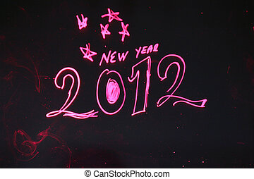 2012 New year - Color image of stars in the sky and the 2012...