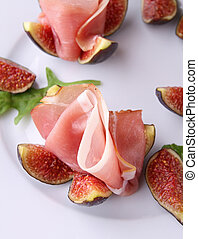 fresh figs and ham - figs and ham, appetizer