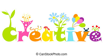 Creative abstract concept - colorful living letters Vector...