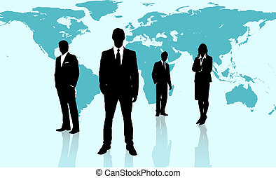 Businesspeople standing against a blue world map -...