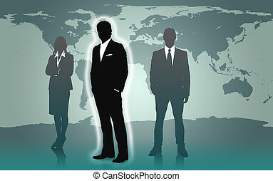 Businesspeople standing against a world map - Businesspeople...