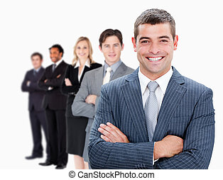 Businesspeople standing in a row against white background