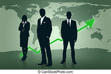 Businesspeople standing in front of world map - Illustrated...