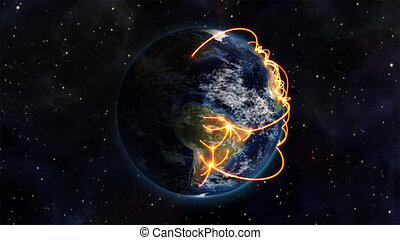 Illustrationof the world being connected - An illustration...