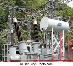 Electrical Substation with Large Insulators - Electric...