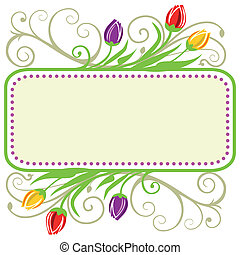 Tulips spring frame - Colorful tulips frame and ornaments...