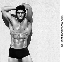 Male fitness model - Sexy fine art black and white portrait...