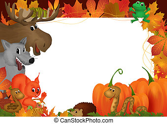 Autumn - Frame illustration with autumn leaves and animals