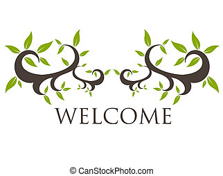 Welcome motive - Vintage floral welcome ornament. Vector...