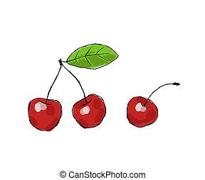 Cherries - three juicy cherries on white background
