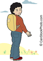 Schoolboy with backpack - A child on the way to school