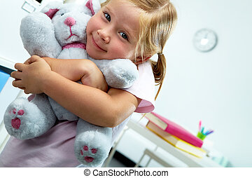 Girl with teddy bear - Portrait of lovely girl with her...