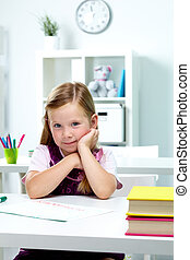 Cute girl - Portrait of lovely girl sitting at workplace in...