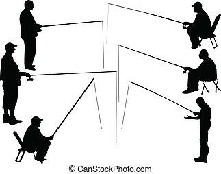 pescador, cobrança, -, vetorial