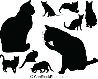 cat collection - vector - illustration of cat collection 2 -...