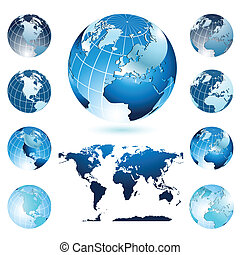 World Map and Globes - Vector composition representing nine...