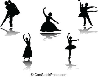 ballet collection with shadow - illustration of ballet...