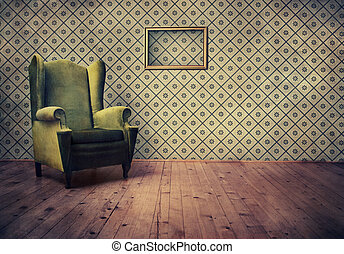 Old fashioned armchair - Vintage room with wallpaper and old...