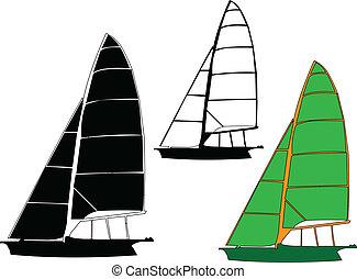 sailing boat - vector