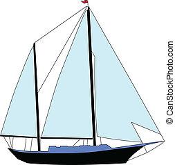 sailing boat 2 - vector