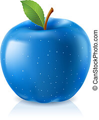 Delicious blue apple Illustration on white background