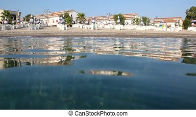 on hotel beach from water, camera is on water surface - on...
