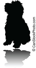 little puppy with shadow - vector - illustration of little...