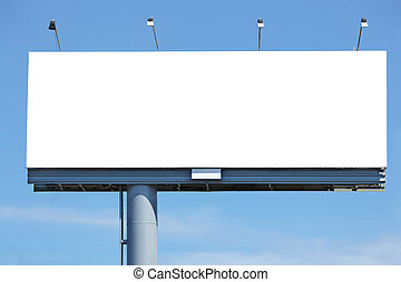 blank billboard - Huge blank billboard against blue sky for...