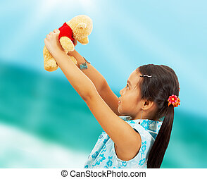 Young Kid On Vacation At The Beach